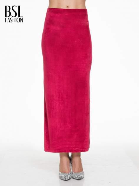 Czerwona zamszowa spódnica maxi z rozporkiem                                  zdj.                                  1