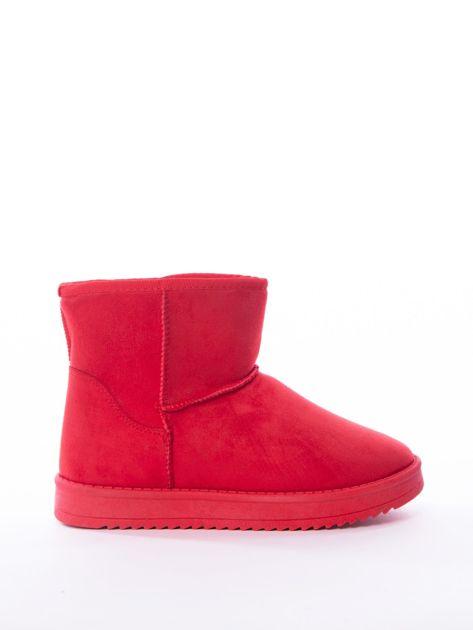 Czerwone gładkie śniegowce ocieplane futerkiem                              zdj.                              1
