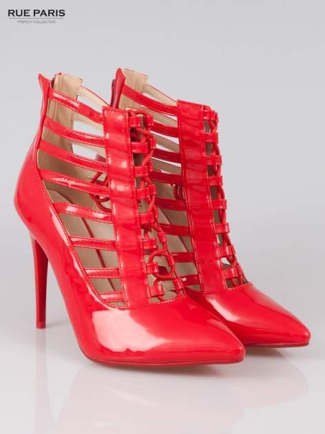 Czerwone lakierowane botki lace up Ibiza