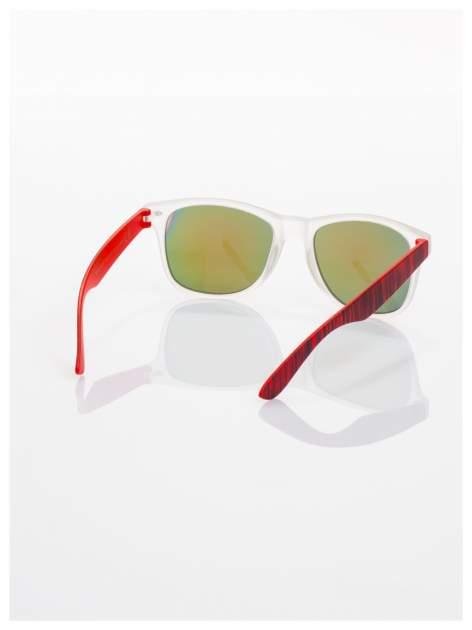 Czerwone  lustrzanki z filtrami UV okulary z klasyczną oprawką WAYFARER NERD z efektem mlecznej szyby -odporne na wyginania                                  zdj.                                  3