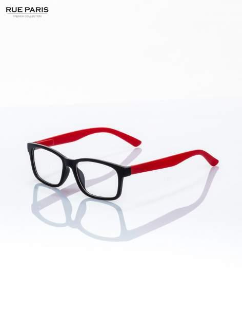 Czerwone okulary zerówki kujonki typu WAYFARER NERDY matowe                                  zdj.                                  1