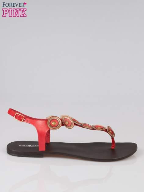 Czerwone skórzane sandały japonki w stylu etno Sharon                                  zdj.                                  1