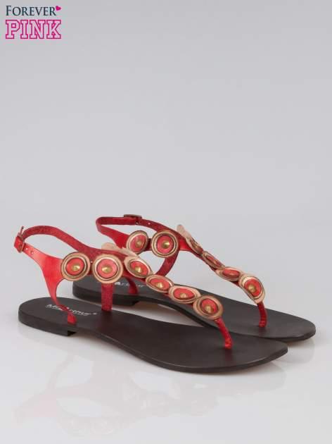 Czerwone skórzane sandały japonki w stylu etno Sharon                                  zdj.                                  2