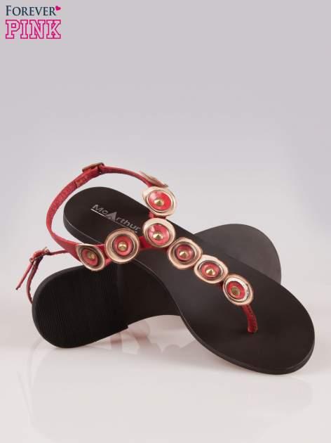 Czerwone skórzane sandały typu japonki w stylu etno                                  zdj.                                  4