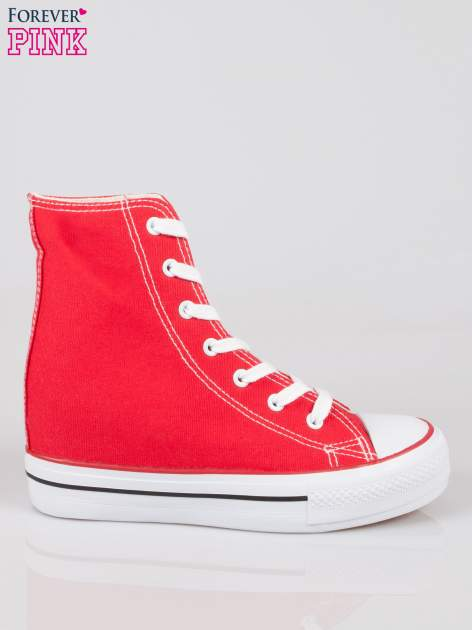 Czerwone sneakersy trampki damskie na koturnie Liliana                                  zdj.                                  1