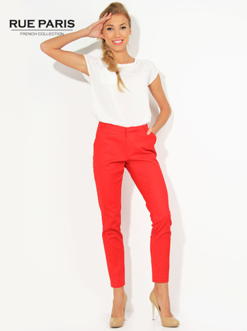 Czerwone spodnie cygaretki z kieszeniami                                  zdj.                                  1