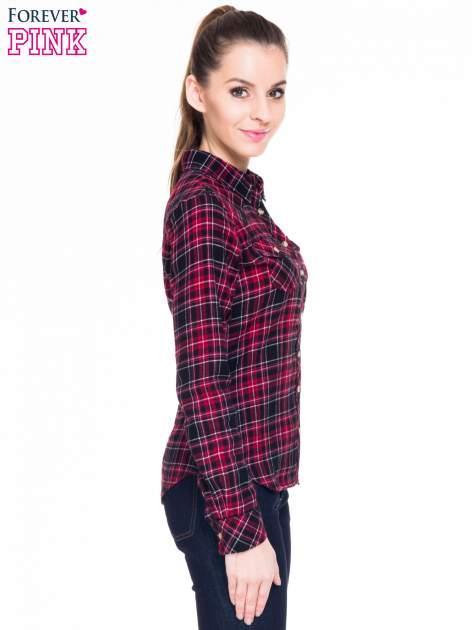 Czerwono-czarna koszula w kratę z kieszonkami                                  zdj.                                  4