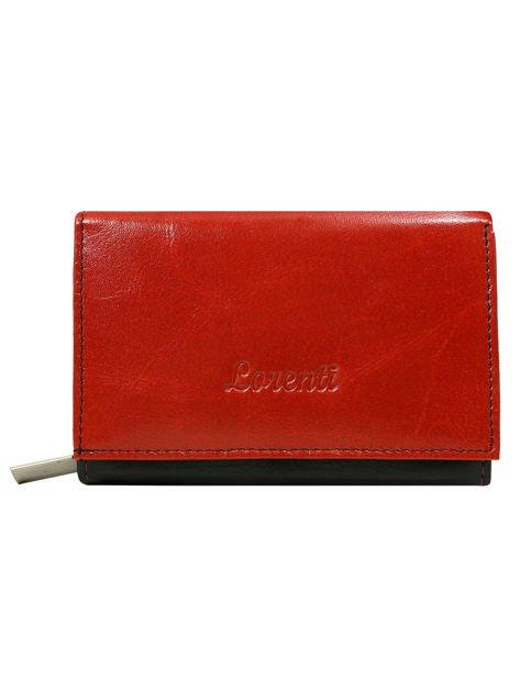 Czerwono-czarny skórzany portfel z napą i suwakami