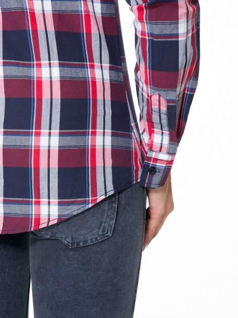 Czerwono-granatowa koszula w kratę z kieszeniami                                  zdj.                                  11