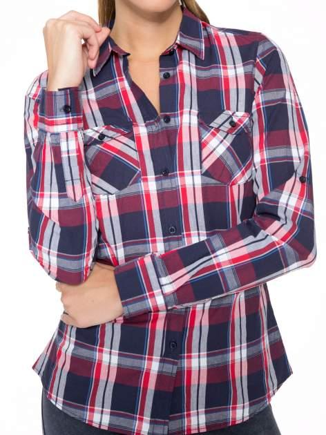 Czerwono-granatowa koszula w kratę z kieszeniami                                  zdj.                                  8