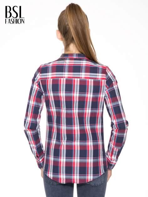 Czerwono-granatowa koszula w kratę z kieszeniami                                  zdj.                                  9