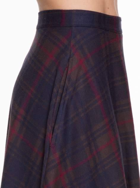 Czerwono-granatowa kraciasta spódnica midi szyta z półkola                                  zdj.                                  6