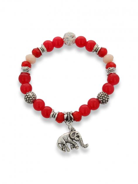 Czerwono  - srebrna Bransoletka koralikowa                                  zdj.                                  1
