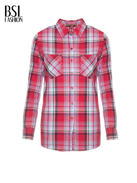 Czerwono-zielona klasyczna koszula w kratę z kieszeniami                                  zdj.                                  2