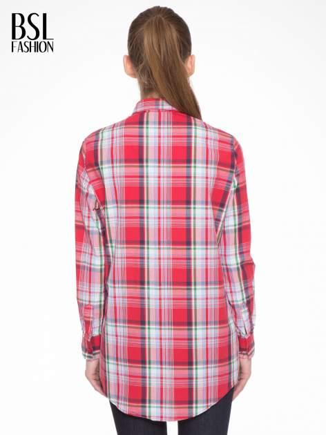 Czerwono-zielona klasyczna koszula w kratę z kieszeniami                                  zdj.                                  4
