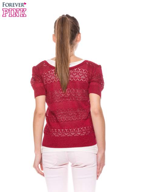 Czerwony ażurowy sweterek w stylu retro                                  zdj.                                  4