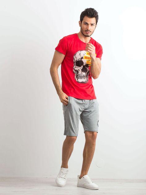 Czerwony bawełniany t-shirt męski z printem                              zdj.                              4