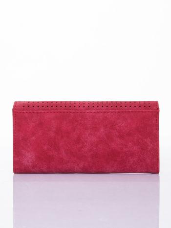 Czerwony dziurkowany portfel ze złotym wykończeniem                                  zdj.                                  2
