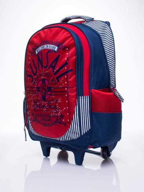 Czerwony plecak szkolny na kółkach walizka DISNEY z motywem żeglarskim                                  zdj.                                  2