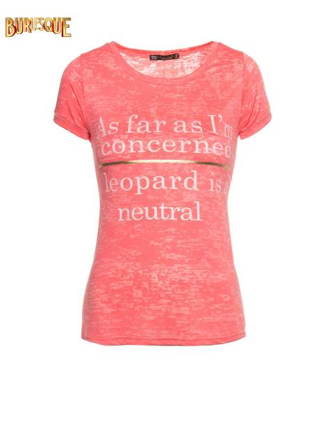 Czerwony półtransparentny t-shirt z napisem