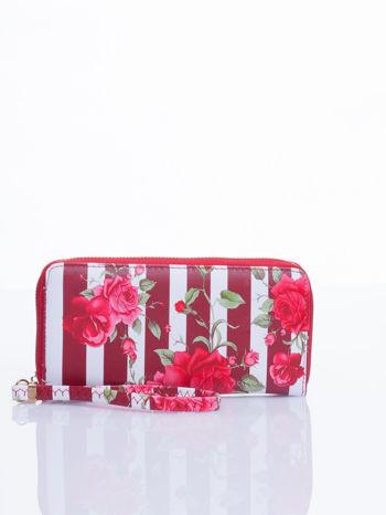 Czerwony portfel w kwiaty efekt saffiano