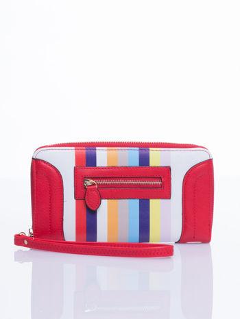 Czerwony portfel w paski z kieszonką                                  zdj.                                  2