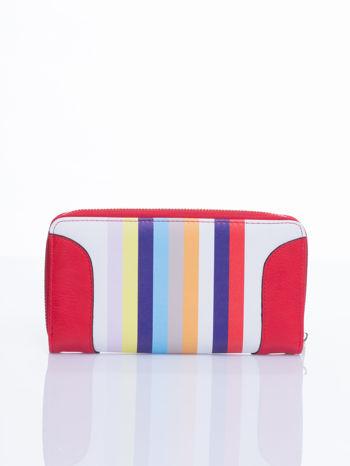 Czerwony portfel w paski z kieszonką
