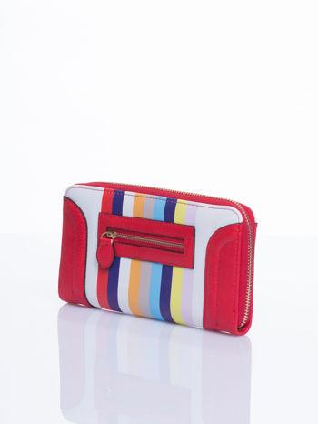 Czerwony portfel w paski z kieszonką                                  zdj.                                  3