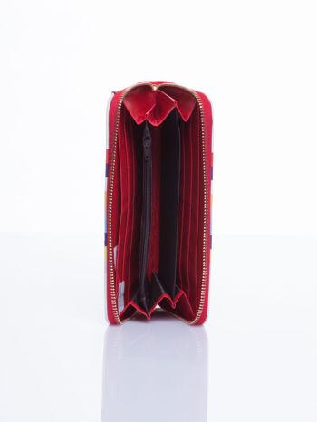 Czerwony portfel w paski z kieszonką                                  zdj.                                  4