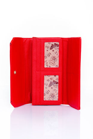 Czerwony portfel z motywem skóry aligatora                                  zdj.                                  4