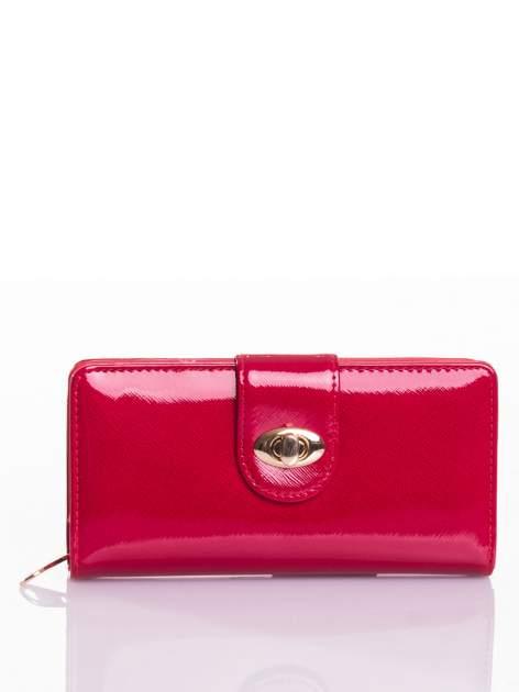 Czerwony portfel ze złotym zapięciem efekt skóry saffiano                                  zdj.                                  1
