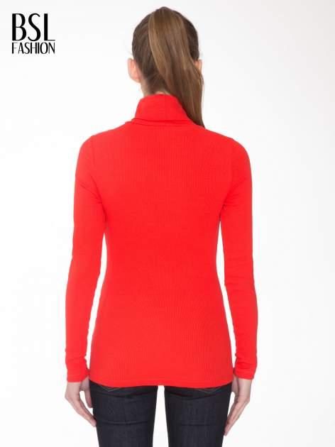 Czerwony prążkowany golf damski                                  zdj.                                  4