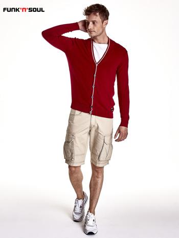 Czerwony sweter męski na guziki Funk n Soul                                   zdj.                                  5