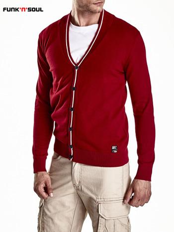 Czerwony sweter męski na guziki Funk n Soul                                   zdj.                                  6
