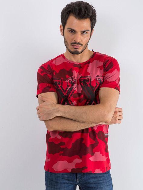 Czerwony t-shirt męski Moro                              zdj.                              1