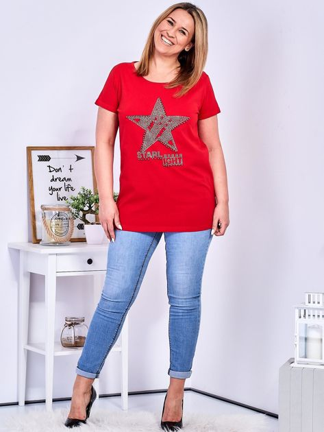 Czerwony t-shirt z błyszczącą gwiazdą PLUS SIZE                              zdj.                              4