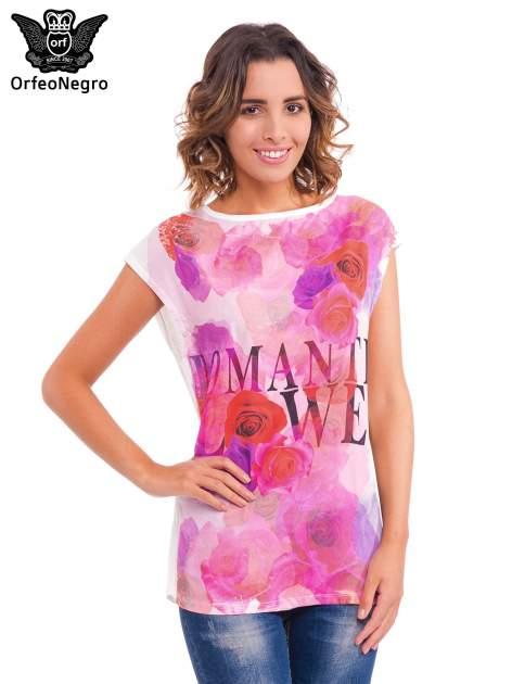 Czerwony t-shirt z kwiatowym nadrukiem i napisem ROMANTIC FLOWER                                  zdj.                                  1