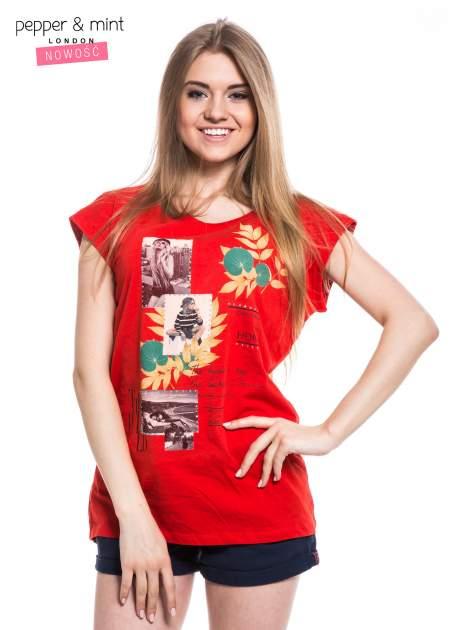 Czerwony t-shirt z nadrukiem i wydłużanym tyłem