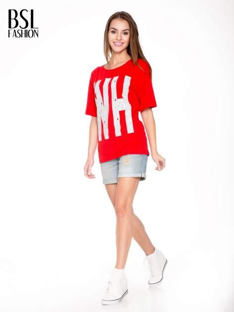 Czerwony t-shirt z nadukiem WHY? z przodu i na plecach                                  zdj.                                  5