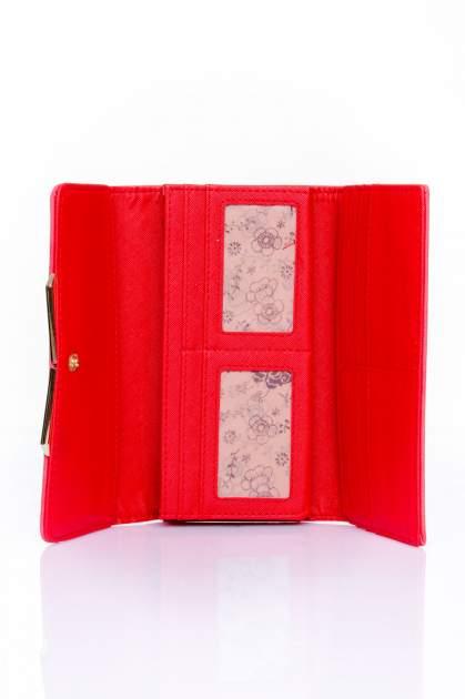 Czerwony zamszowy portfel z geometrycznym motywem                                  zdj.                                  4
