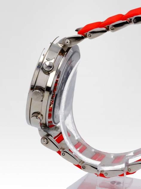 Czerwony zegarek na bransolecie z cyrkoniami na tarczy                                  zdj.                                  3