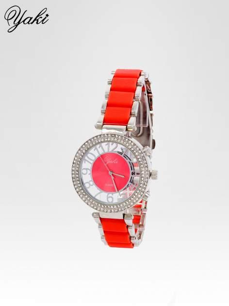 Czerwony zegarek na bransolecie z cyrkoniami na tarczy                                  zdj.                                  2