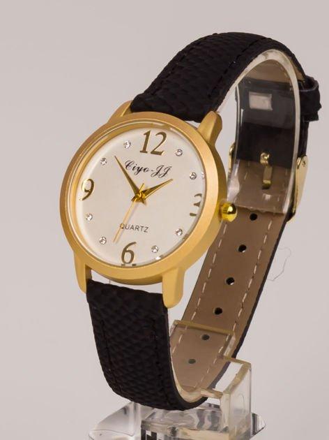 Damski zegarek. Duże złote cyfry, cyrkonie. Elegancki. Doskonały na każdą okazję.