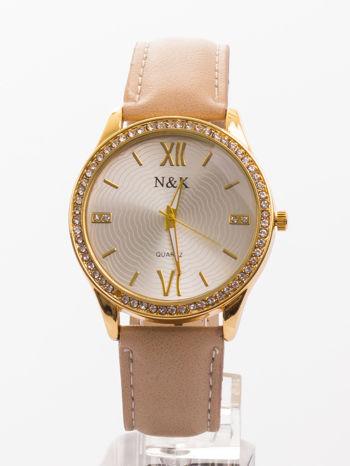 Damski zegarek. Klasyczny, ale nie ma nudy - za to są cyrkonie.                                  zdj.                                  1