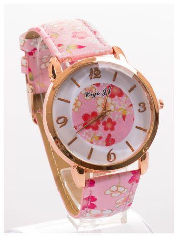 Damski zegarek z motywem kwiatowym na tarczy oraz pasku                                  zdj.                                  3