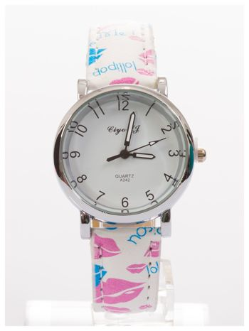 Damski zegarek z motywem ust na pasku                                  zdj.                                  1