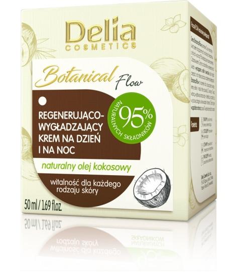 """Delia Cosmetics Botanic Flow Krem regenerująco-wygładzający z olejem kokosowym na dzień i noc  50ml"""""""