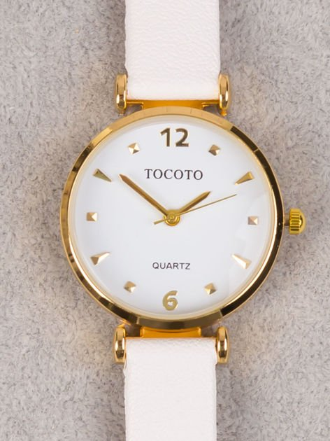 Delikatny złoty zegarek damski z cyrkoniami