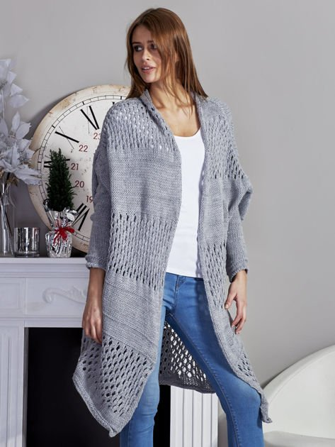 Długi ażurowany sweter szary                              zdj.                              5