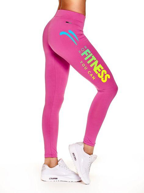 Długie legginsy sportowe z efektownym nadrukiem ciemnoróżowe                                  zdj.                                  1
